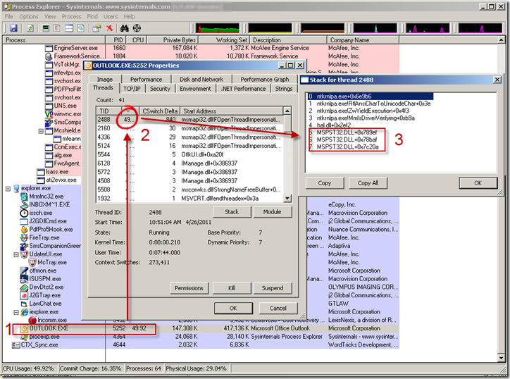 Know the Stack (or More Hang Analysis Using Process Explorer