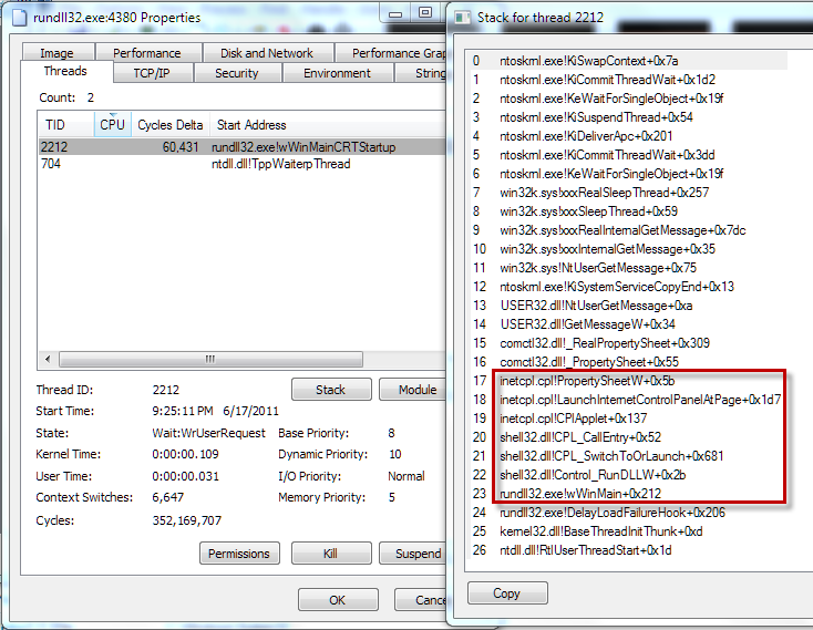 inside windows \u2013 rundll32 exe windows exploredyou read the stack from the bottom to the top, so rundll32 exe calls three functions inside shell32 dll in (frames 22, 21, and 20), which then starts