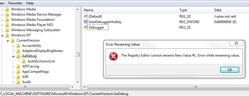 The Case of the Failed Registry Edit « Windows Explored